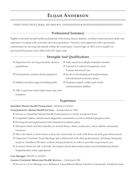 mhmr of tarrant county qualified mental health professional resume