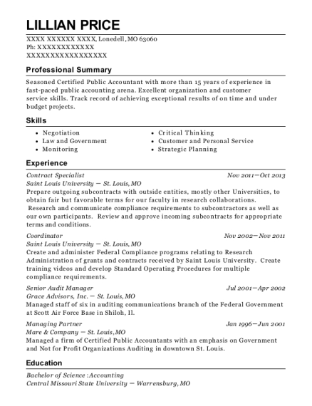 Lillian Price  Government Contract Specialist Resume