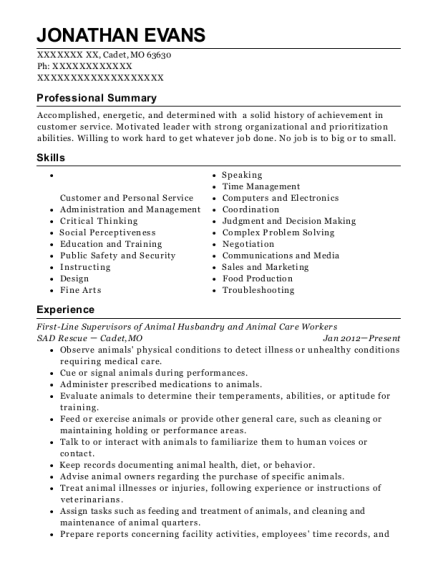 View Resume. First Line Supervisors Of Animal Husbandry And Animal Care  Workers