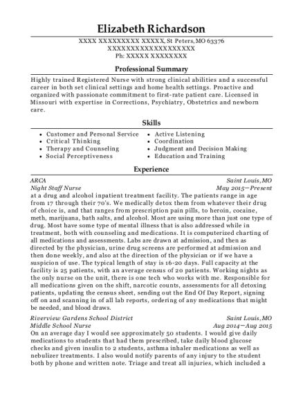 best middle school nurse resumes resumehelp - School Nurse Resume