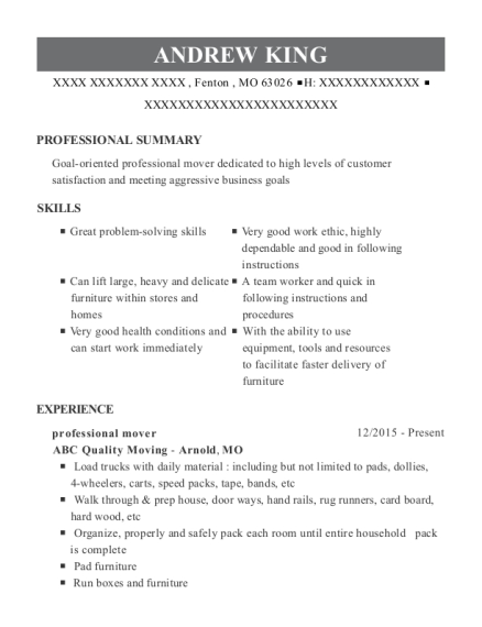 professional mover resumes