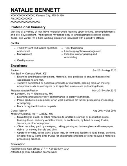 best material handler packer resumes resumehelp