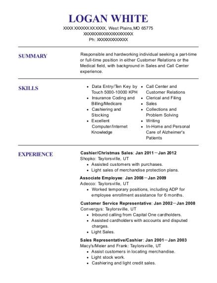 logan white - Patient Service Representative Resume