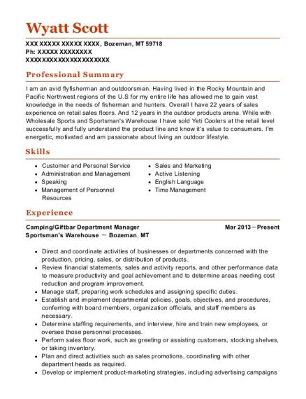 Best Camping/giftbar Department Manager Resumes | ResumeHelp