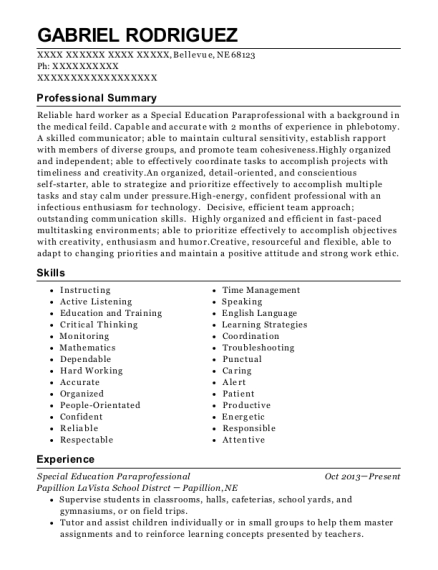 best special education paraprofessional resumes