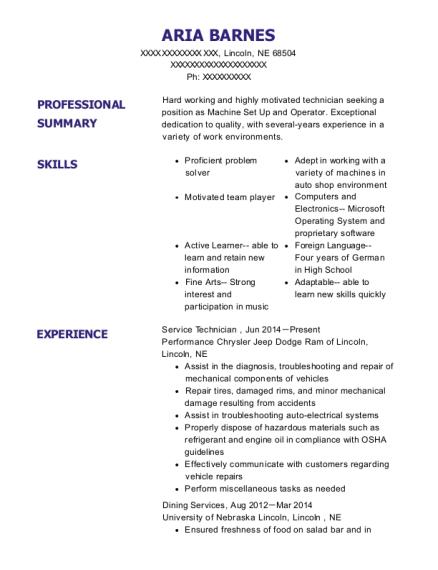 View Resume. Service Technician
