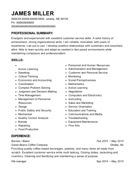 Green Beans Coffee Company Barista / Baker Resume Sample - Omaha ...