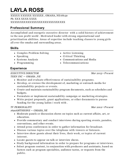 view resume - Tv Host Resume