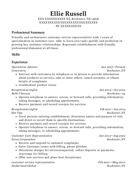 Concentrix Operations Advisor Resume Sample Rochester Nebraska