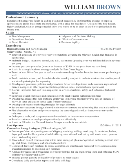 View Resume Regional Service And Parts Manager