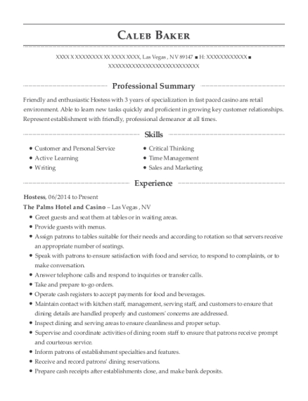 Hostess resume template Nevada