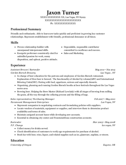 bartender resume summary