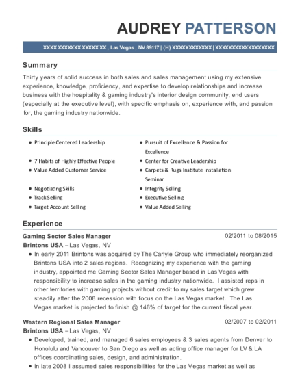 brintons usa gaming sector sales manager resume sample las vegas