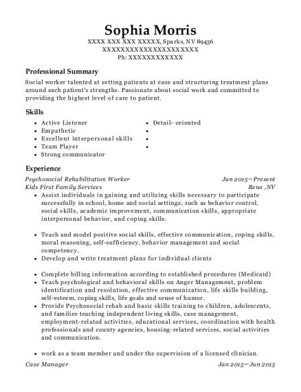 Best Psychosocial Rehabilitation Worker Resumes | ResumeHelp
