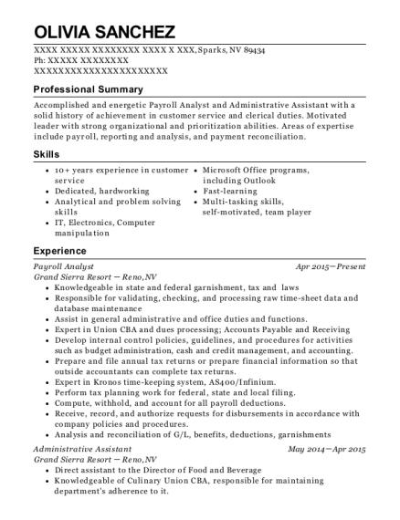 Payroll Resume | Best Payroll Analyst Resumes Resumehelp