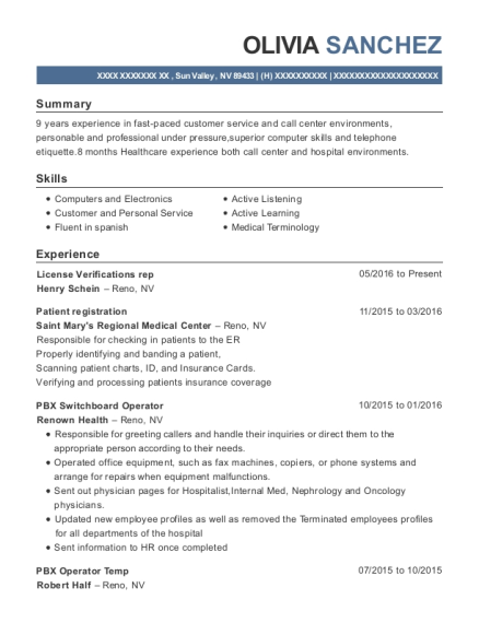 olivia sanchez - Switchboard Operator Resume