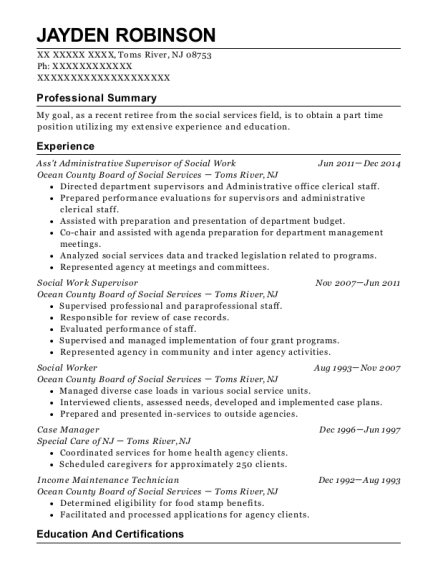 Baltimore City Public Schools Social Worker Resume Sample - Owings ...