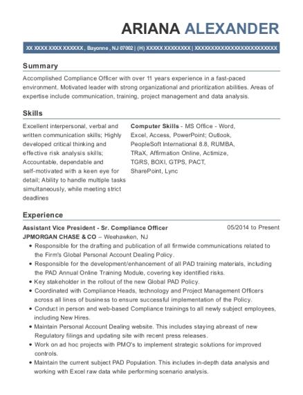 best compliance analyst resumes resumehelp