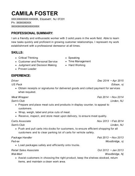 view resume - Package Handler Resume