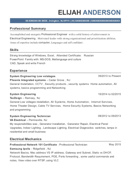 phoenix integrated systems system engineering low volatages resume