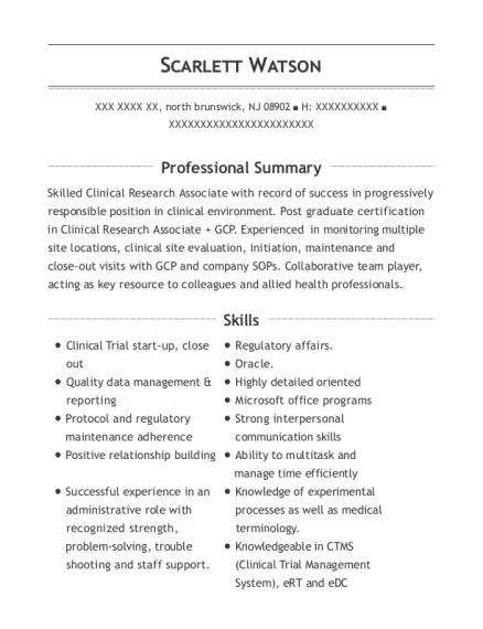 clinical research coordinator clinical research associate customize resume view resume