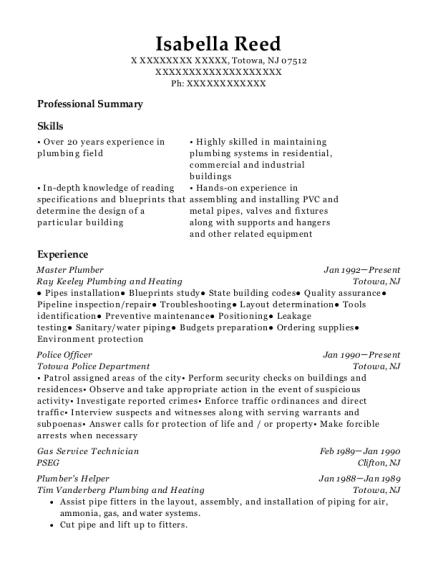 Isabella Reed   Plumber Resume  Plumbing Resume