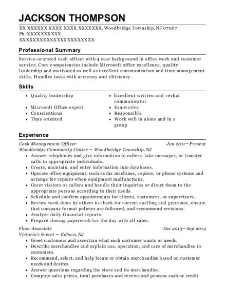View Resume. Cash Management Officer