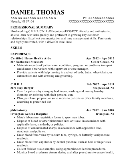 best home health aide resumes in newark new jersey