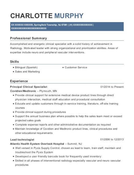 View Resume. Principal Clinical Specialist