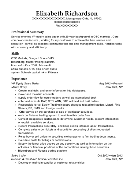 View Resume. VP Equity Sales Trader