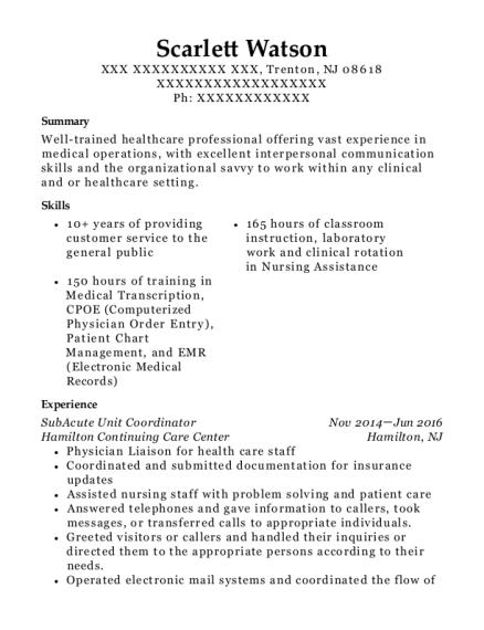 Best Subacute Unit Coordinator Resumes | ResumeHelp