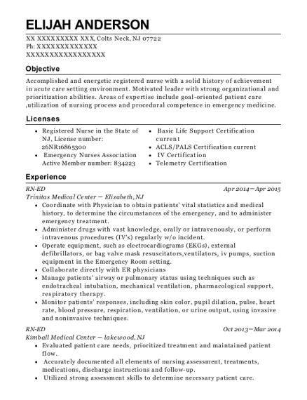 Trinitas Medical Center Rn Ed Resume Sample - Colts Neck New Jersey ...