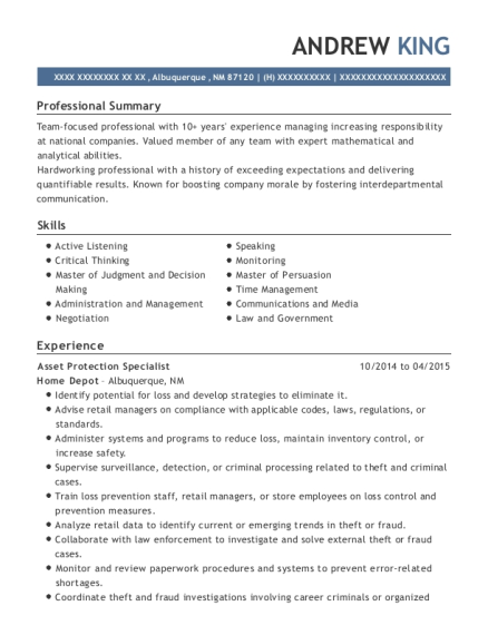 The Home Depot Asset Protection Specialist Resume Sample - Maryville ...