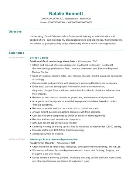 natalie bennett - Patient Service Representative Resume
