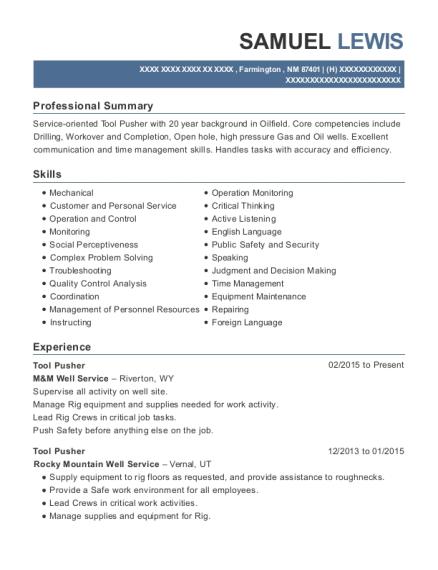 crown well service tool pusher resume sample batson texas