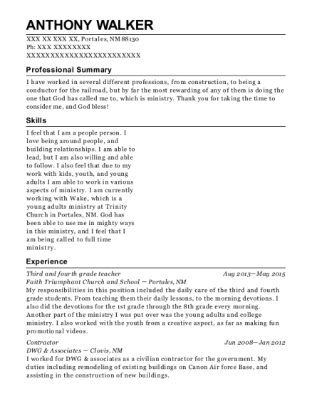 4th grade teacher resume