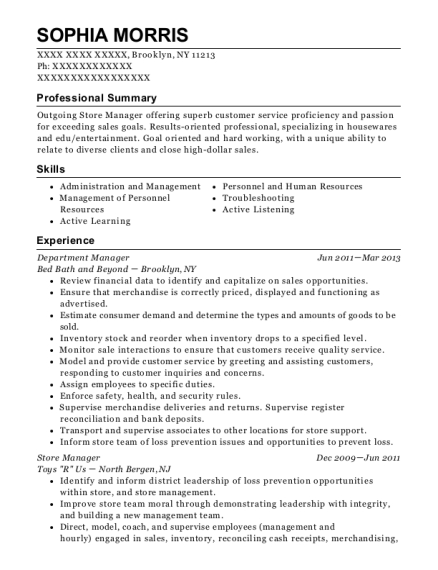 bed bath and beyond department manager resume sample brooklyn new