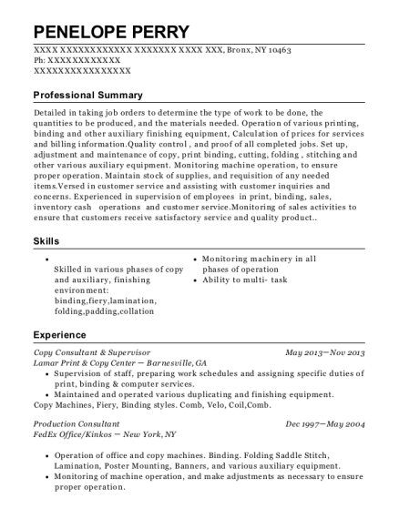 Lamar Print Copy Center Copy Consultant Supervisor Resume Sample