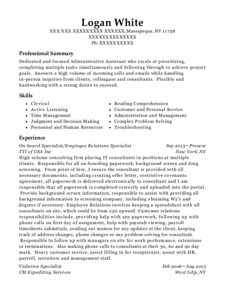 Best Employee Relations Specialist Resumes
