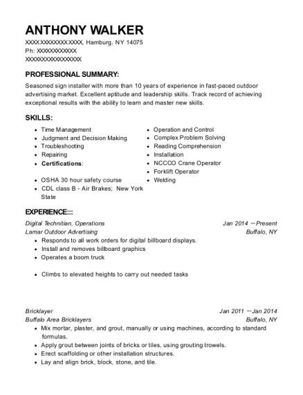self employed bricklayer resume sample