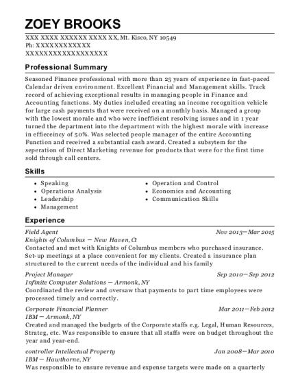 new york life insurance company field agent resume sample