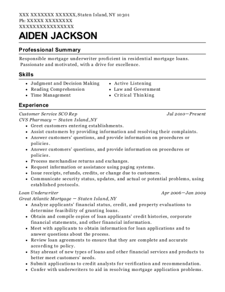 Aiden Jackson  Mortgage Underwriter Resume