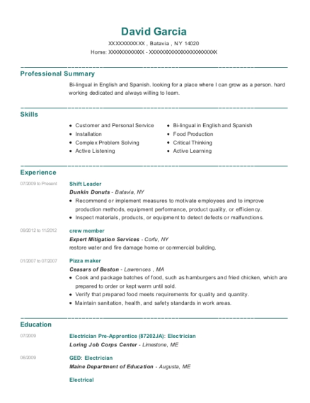 david garcia - Pizza Maker Resume