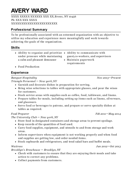 Triangle Personnel Banquet Hospitality Resume Sample Bronx New
