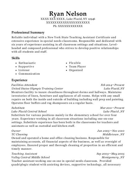 United States Olympic Training Center Facilities Attendant Resume ...