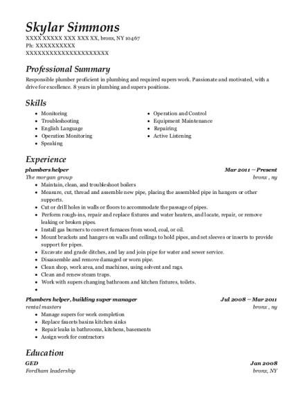 View Resume Plumbers Helper