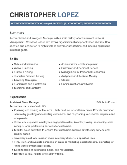 View Resume. Assistant Store Manager