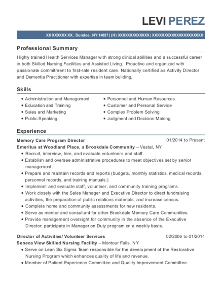 view resume memory care program director - Program Director Resume