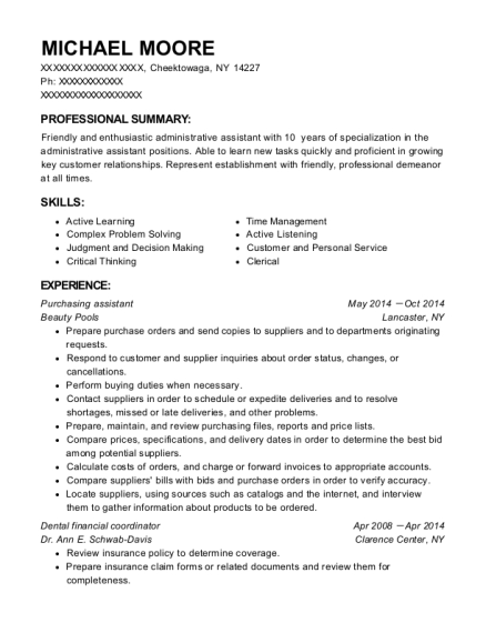 purchasing assistant resume