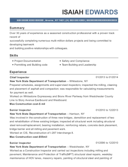 Isaiah Edwards  Construction Inspector Resume